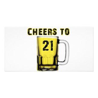 Cheers to Twenty One Birthday Photo Cards