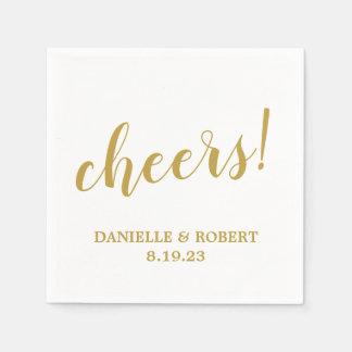 Cheers   Trendy Calligraphy Wedding Napkin Paper Napkin