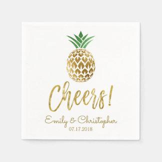 Cheers Tropical Hawaiian Pineapple Wedding White Disposable Napkins