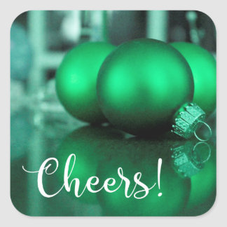Cheers Typography Green Toned Ornaments Photo Square Sticker