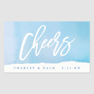 Cheers Watercolor Mini Wine, Mini Champagne Label Rectangular Sticker