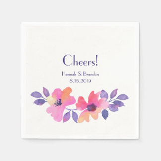 Cheers Watercolor Spring Floral Wedding Paper Serviettes