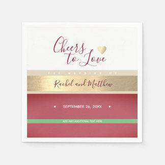 cheers! wedding cheers to love elegantly striped disposable napkin