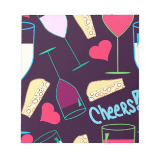 Cheers Wine Party Pattern Notepad