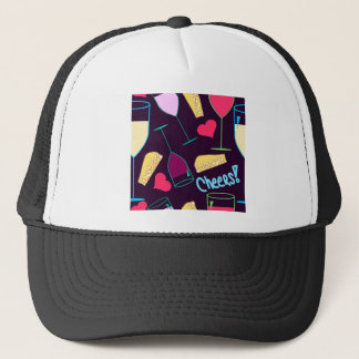 Cheers Wine Party Pattern Trucker Hat