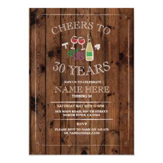 Cheers Wine Tasting Rustic Birthday Invitation