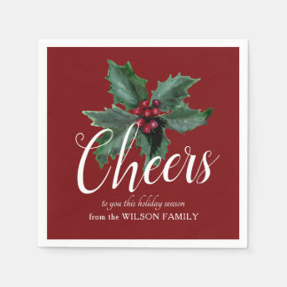 Cheers with Festive Holly Napkins Disposable Napkin