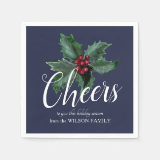 Cheers with Festive Holly Napkins Disposable Serviette