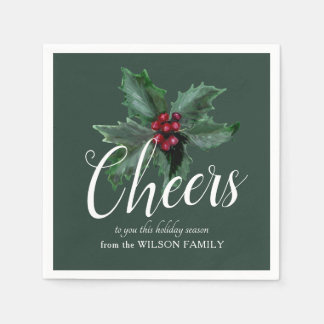 Cheers with Festive Holly Napkins Paper Napkins