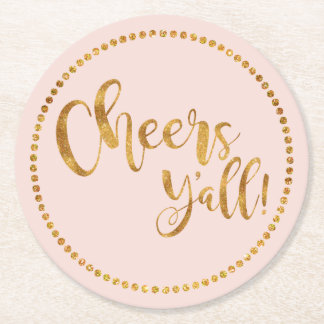 Cheers Yall   Blush Pink   Beer & Cocktail Party Round Paper Coaster