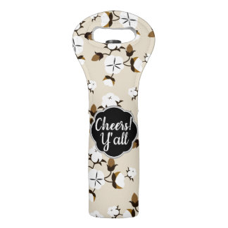 Cheers Y'all Rustic Country Cotton Flowers Wine Bag