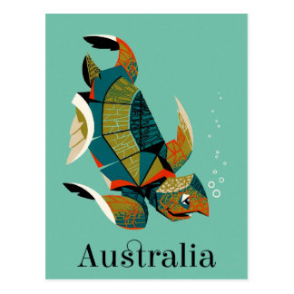 Cheery Australian Sea Turtle Postcard