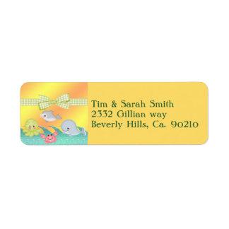 Cheery Baby Sea Creatures Baby Shower Return Address Label