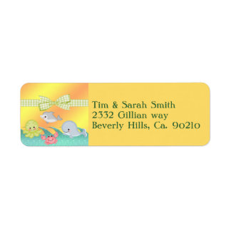 Cheery Baby Sea Creatures Baby Shower Return Address Label