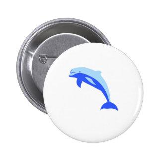 Cheery Blue Jumping Dolphin Cartoon 6 Cm Round Badge