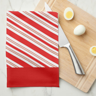 Cheery Candy Cane Stripes in Festive Red and White Hand Towels