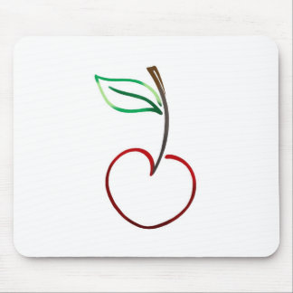 Cheery Cherry Outline on White Mouse Pad