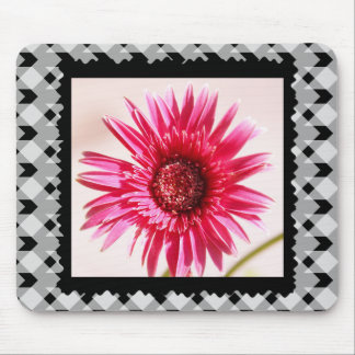 Cheery Pink Gerbera Daisy on Black/White Gingham Mouse Pad