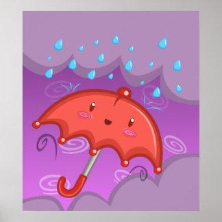 Cheery Umbrella-Stormy Poster