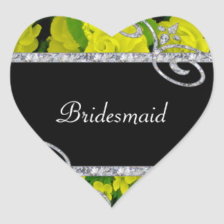 Cheery Yellow Roses & Diamond Swirls Wedding Sticker