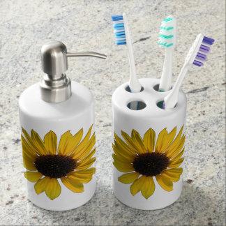 Cheery Yellow Sunflowers Toothbrush Holder