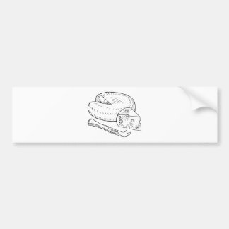Cheese and Knife Vintage Retro Etching Style Bumper Sticker
