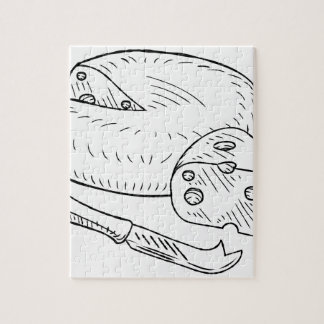 Cheese and Knife Vintage Retro Etching Style Jigsaw Puzzle