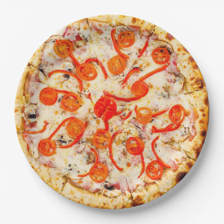 Cheese and Pepper Pizza Party Paper Plates