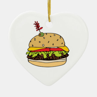 Cheese Burger Deluxe Personalize Ceramic Ornament