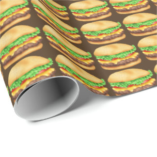 Cheese burger fast food themed wrapping paper