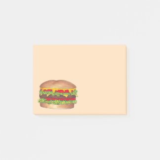 Cheese Burger Hamburger Cheeseburger Fast Food Post-it Notes