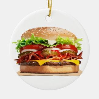 Cheese Burger Hamburger Round Ceramic Decoration