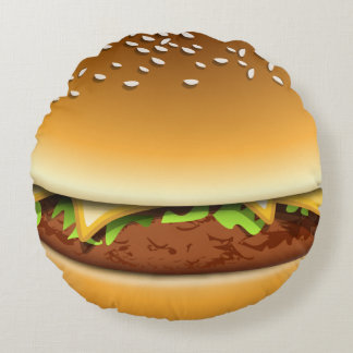Cheese Burger In A Bun Novelty Round Cushion