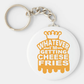 Cheese Fries Basic Round Button Key Ring