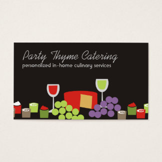 Cheese grapes wine appetizers catering biz cards