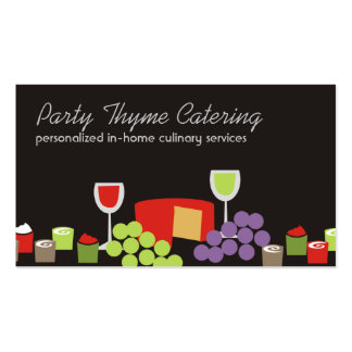Cheese grapes wine appetizers catering biz cards pack of standard business cards