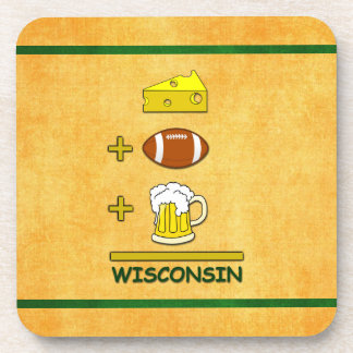 Cheese Plus Football Plus Beer Equals Wisconsin Beverage Coaster