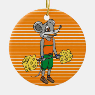 Cheese Weightlifting Mouse Ceramic Ornament