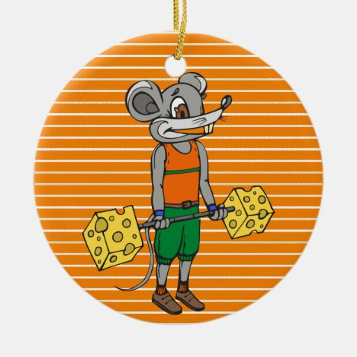Cheese Weightlifting Mouse Christmas Tree Ornament