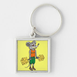Cheese Weightlifting Mouse Keychains