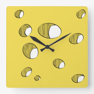 Cheese with holes square wall clock