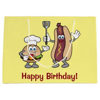 Cheeseburger and Hot Dog Happy Birthday! Large Gift Bag