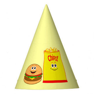 Cheeseburger and Potato Chips Birthday Party Hat