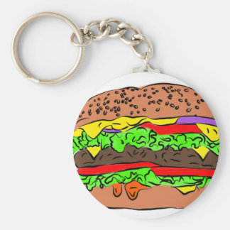 Cheeseburger Basic Round Button Key Ring