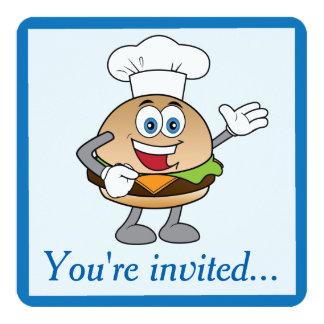 """Cheeseburger Birthday Invitation 5.25"""" Square Invitation Card"""