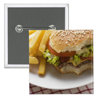 Cheeseburger, bites taken, with chips pinback buttons