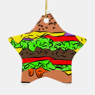 Cheeseburger Ceramic Star Decoration