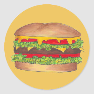 Cheeseburger Cheese Burger Hamburger Fast Food Bun Classic Round Sticker