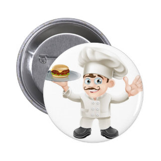 Cheeseburger chef pinback buttons