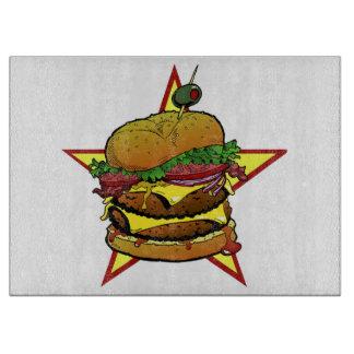 Cheeseburger design Glass cutting board